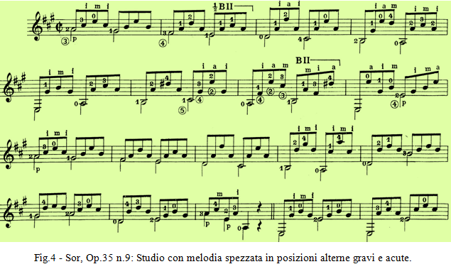 Sor Op.35 n.9 - Studio con melodia spezzata in posizioni alterne gravi e acute.